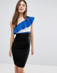 Vesper One Shoulder Pencil Dress With Contrast Frill - Blue