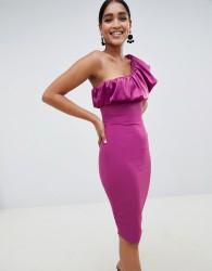 Vesper one shoulder ruffle pencil dress - Purple