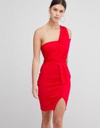 Vesper One Shoulder Split Pencil Dress - Red
