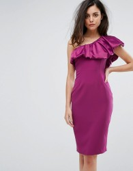 Vesper One Sleeve Pencil Dress With Satin Ruffle - Red