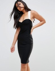 Vesper Pencil Dress With Contrast Strap Detail - Multi