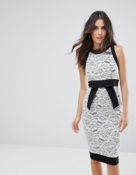 Vesper Pencil Dress With Lace Insert - Multi