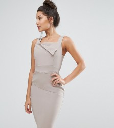Vesper Pencil Dress With Origami Detail - Tan