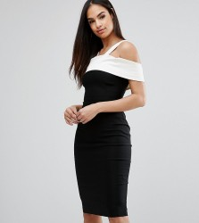 Vesper Pencil Dress With Satin Contrast - Black