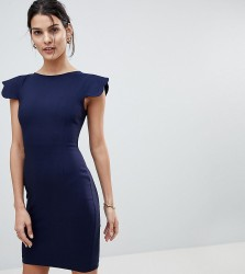 Vesper Pencil Dress With Scallop Sleeve - Navy