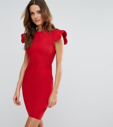 Vesper Pencil Dress With Scallop Sleeve - Red