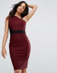 Vesper Pencil Dress With Strap Shoulder Detail - Red