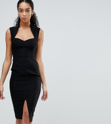 Vesper Pencil Dress With Sweetheart Neckline And Split - Black
