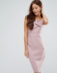 Vesper Pencil Midi Dress With Ruched Detail - Pink