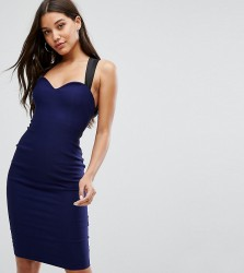 Vesper Pencil Midi Dress with Sweetheart Plunge - Navy