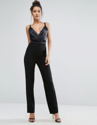 Vesper Plunge Jumpsuit With Satin Bodice - Black