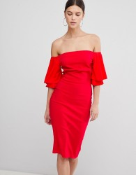 Vesper Short Sleeve Bardot Dress - Red