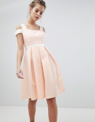 Vesper Skater Dress With Strap Detail - Pink