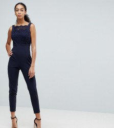 Vesper Square Neck Lace Tailored Jumpsuit With Tie Back - Navy