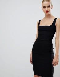 Vesper square neck pencil dress in black - Black