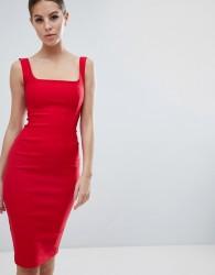 Vesper square neck pencil dress in red - Red