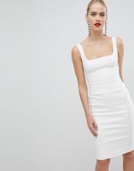 Vesper square neck pencil dress in white - White
