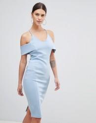 Vesper Strap Bardot Pencil Dress - Blue