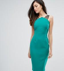 Vesper Strap Detail Pencil Dress With Zip Back - Green
