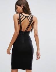 Vesper Strappy Back Midi Dress - Black