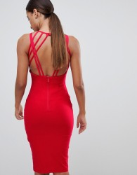 Vesper strappy back midi dress in red - Red