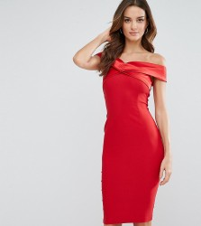 Vesper Structured Pencil Dress With Satin Off Shoulder - Red