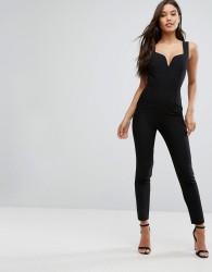 Vesper Sweetheart Plunge Jumpsuit - Black