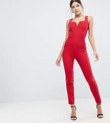 Vesper Sweetheart Plunge Jumpsuit - Red