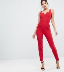 Vesper Sweetheart Plunge Jumpsuit - Red