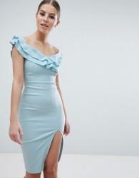 Vesper Sweetheart Plunge Midi Pencil Dress With Thigh Split - Blue