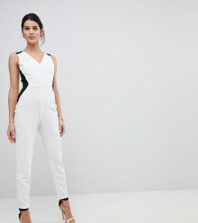 Vesper Tailored Jumpsuit With Contrast Sculpt Panels - White