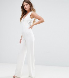 Vesper Tailored Jumpsuit With Lace Inserts - Cream