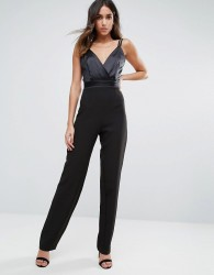 Vesper Tailored Jumpsuit With Satin Body - Black