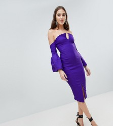 Vesper Tall Bardot Bell Sleeve Pencil Dress - Purple