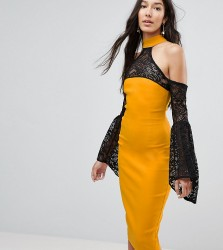 Vesper Tall Cold Shoulder Lace Bell Sleeve Dress - Yellow