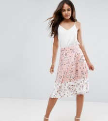 Vesper Tall Midi Skirt In Floral Print With Contrast Border - Pink