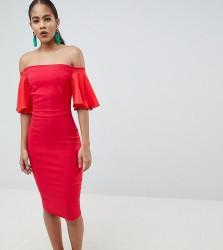 Vesper Tall Short Sleeve Bardot Dress - Orange