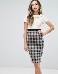 Vesper Two-In-One Pencil Dress With Checked Skirt - Cream