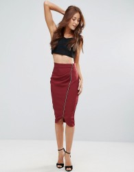 Vesper Zip Front Pencil Midi Skirt - Red