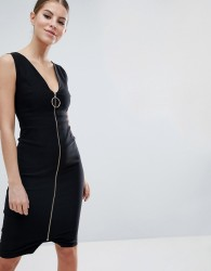 Vesper Zip Through Midi Pencil Dress With Ring Detail - Black
