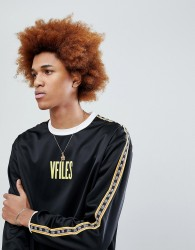 VFILES Logo Long Sleeve T-Shirt In Black With Taping - Black