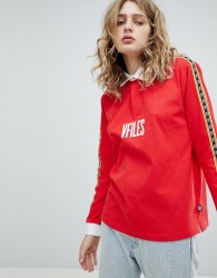 VFILES Logo Rugby Shirt In Red With Taping - Red