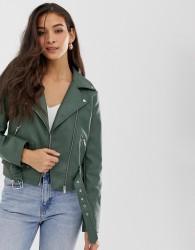 Vila belted faux leather biker jacket - Green