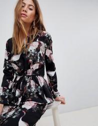 Vila Bird Print Dress - Black
