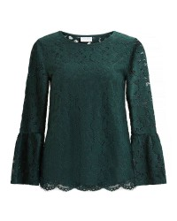 Vila Cary 3/4 Bell Sleeve Top (GRØN, SMALL)