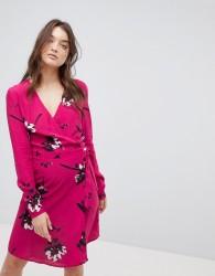 Vila Floral Wrap Dress - Pink