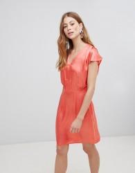 Vila V Neck Silky Dress - Pink