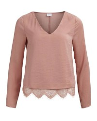 Vila Vibottomlace ls Top (LYSEORANGE, MEDIUM)