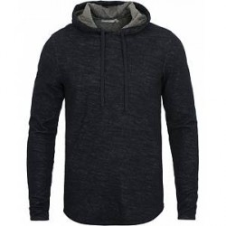 Vince Contrast Double Knit Hoodie New Coastal Carbon