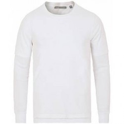 Vince Double Layer Long Sleeve Tee Optic White